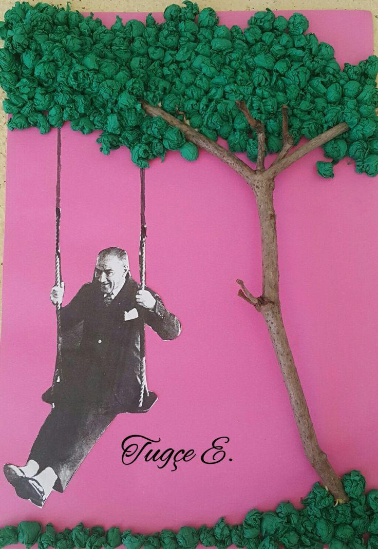Orman haftasi için çalışma. Atatürk salıncak etkinliği. Atatürkün salıncaktaki resmi + yeşil gramafon kağıdı + dal parçası.