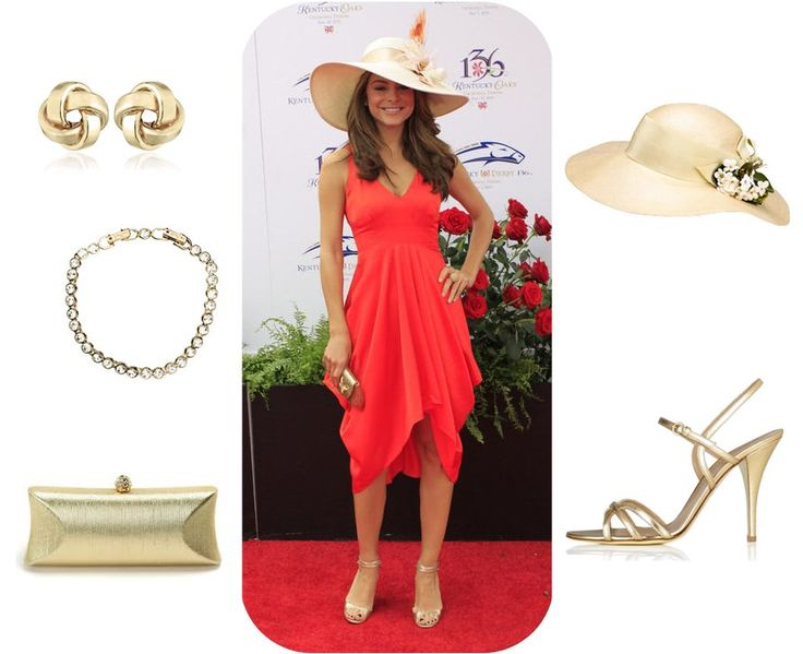 coral dress for derby | Maria Menounos looks great in this coral red cocktail dress with a hat ...