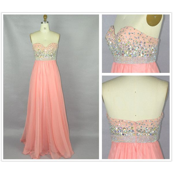 Prom Dress Chiffon Bridesmaid Dress Sweetheart Beading Crystal Coral Prom Dresses Strapless Bridesmaid Dresses Wedding Party Dress ($179) found on Polyvore
