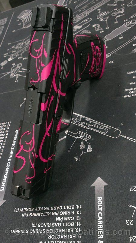 Cerakote Coatings: H-224 Sig Pink with H-146 Graphite Black -- Exchange the pink for a beautiful blue, purple, or silver.