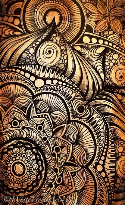 """Playing around in my sketchbook again, getting some ideas flowing for a larger piece! ;) :)  5x7"""" Pen, ink on paper  ©WhiteVioletArt2013"""