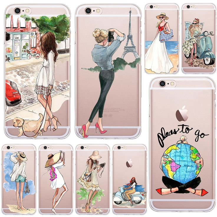 A Girl Summer Outing Travel Relax Beach Transparent Soft Silicone Case For Apple…