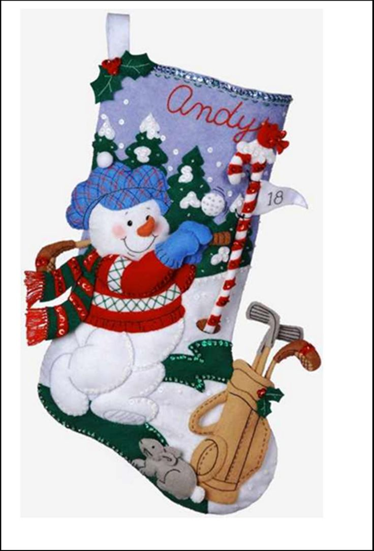 Bota de Navidad con muñeco de nieve golfista