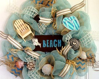Beach Themed Wreath Starfish Wreath Nautical от VivsCustomWreaths