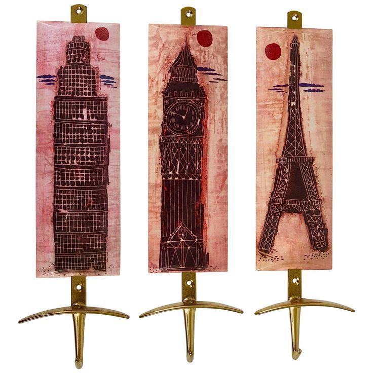 Set of Three Mid-Century Brass Coat Wall Hooks, Fornasetti Style, Italy, 1960s