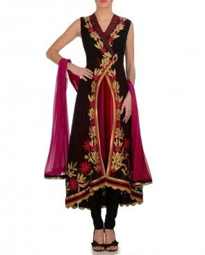 Black Angrakha Suit with Gota Work