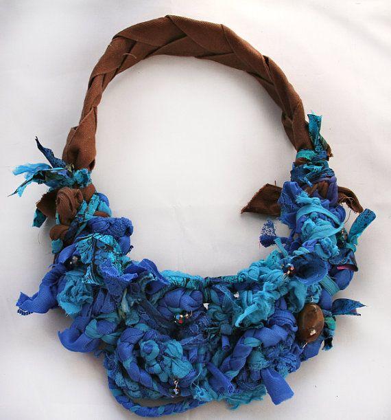 Chunky Blue Upcycled Fiber Necklace