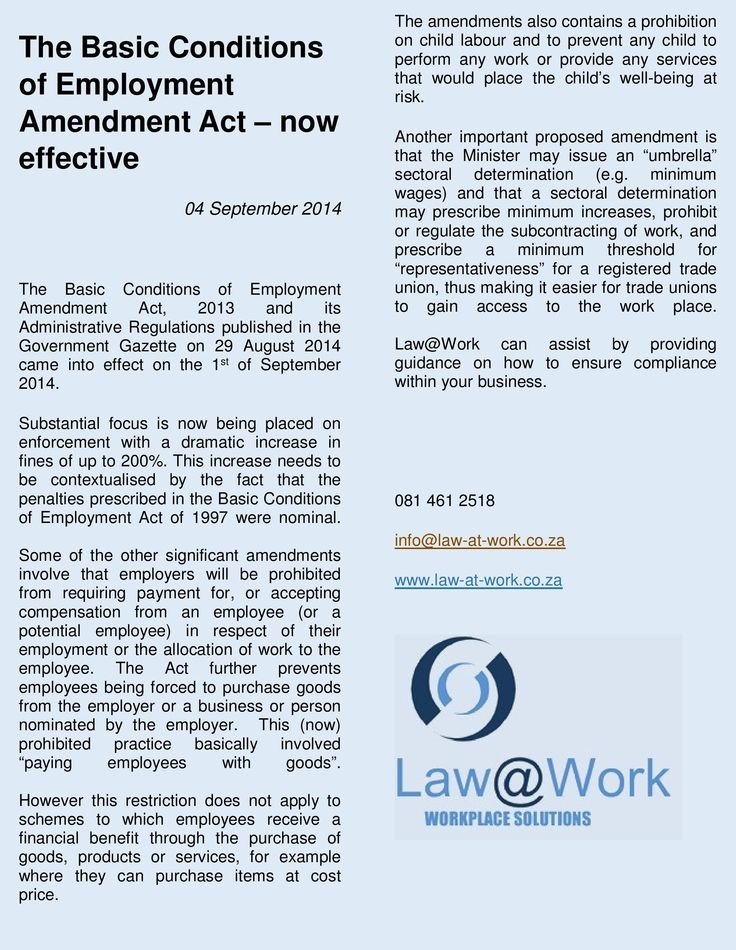 Changes in law