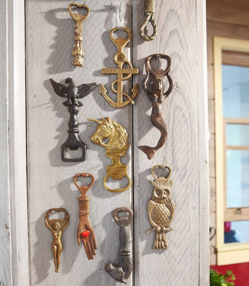 We love this clever way to display a collection of bottle openers.
