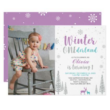 Winter Onederland 1st Birthday Invitation - Girl - invitations custom unique diy personalize occasions