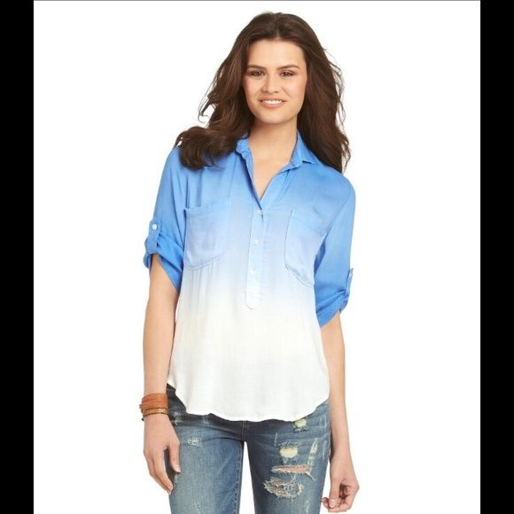Chelsea & Violet Dip Dye Blouse Chelsea & Violet dip dye blouse, this popover blouse ombre design, polo neckline, long roll-tab sleeves, dual chest pockets, rounded hi-low hemline, partial button front, 100% Rayon size Medium NWT Chelsea & Violet Tops Blouses
