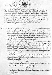 «Legge fondamentale perpetua ed irrevocabile della Monarchia sabauda». Fu la costituzione adottata dal Regno sardo-piemontese il 4 marzo 1848 a Torino che divenne la carta fondamentale della nuova Italia unita e rimase formalmente tale, pur con modifiche, fino al biennio 1944-1946.