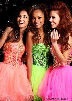sweet 16 neon dresses