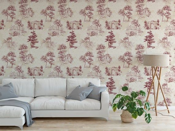Peel And Stick Wallpaper Self Adhesive Wallpaper Removable Wall Decor Toile Red Floral French C Peel And Stick Wallpaper Self Adhesive Wallpaper Home Wallpaper