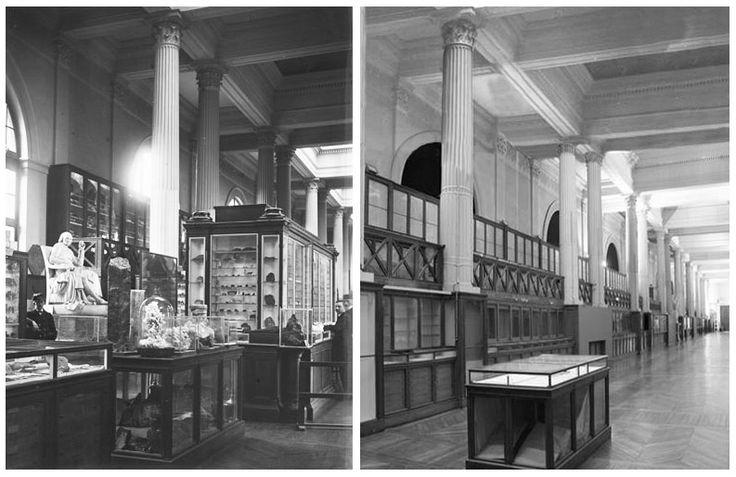 Galerie de Mineralogie du MNHN a Paris, avant et après 2000.