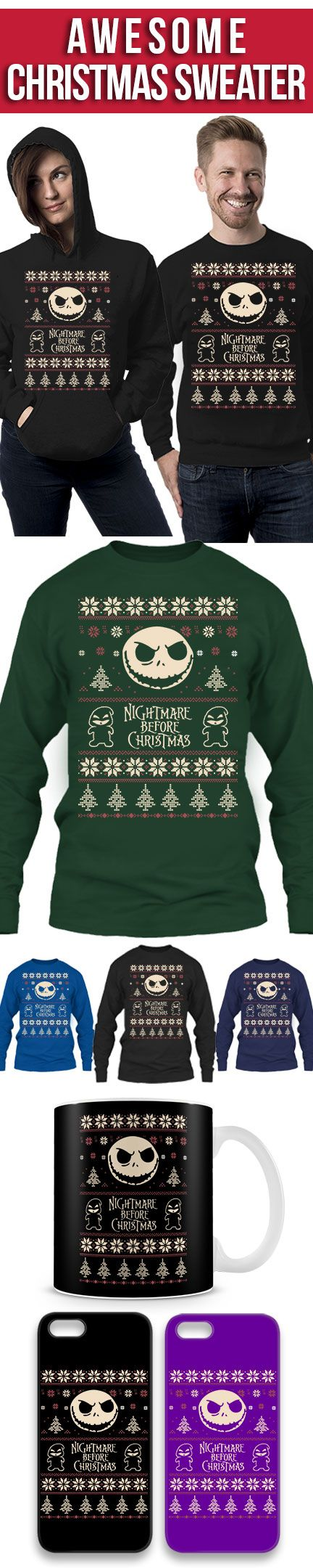 Nightmare Before Christmas Ugly Christmas Sweater! Click The Image To Buy It Now or Tag Someone You Want To Buy This For. #nightmarebeforechristmas