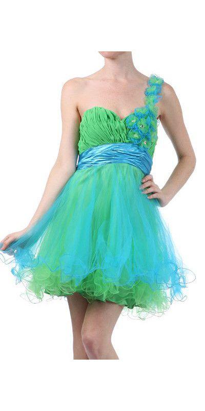 Short Green/Turquoise Homecoming Dress Flower One Strap Tulle Skirt