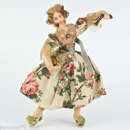 Vintage Spanish Velencia Doll - Flamenco Dancer - by Klumpe Roldan Layna Nistis 1950's to 60's Felt Lacemaker with castanets & mohair