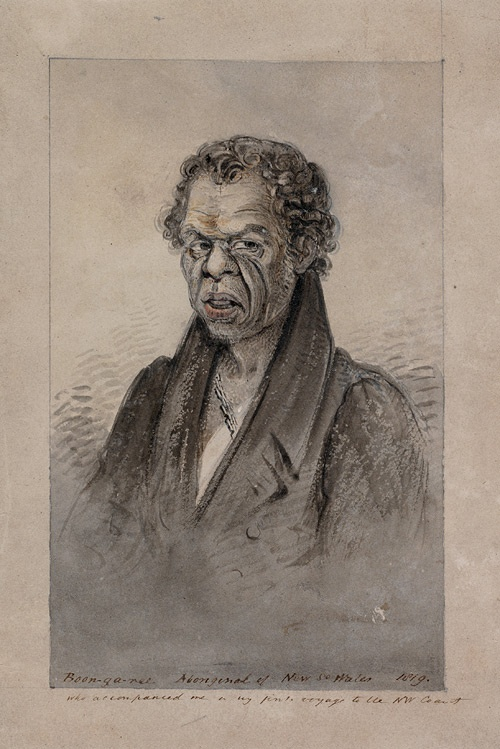 Boon-ga-ree Aboriginal of New South Wales who accompanied me on my first voyage to the N.W. coast, 1819 /  Phillip Parker King (1791–1856).  From Phillip Parker King, Album of drawings and engravings, 1802–1902.   Find more detailed information about this photograph: http://www.sl.nsw.gov.au/events/exhibitions/2010/mari_nawi/03_explorers/image02.html#  From the collection of the State Library of New South Wales: http://acms.sl.nsw.gov.au/item/itemDetailPaged.aspx?itemID=442570