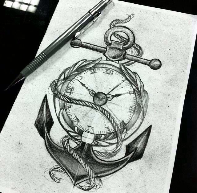 Tattoo Designs Online: Anchor With A Pocket Watch