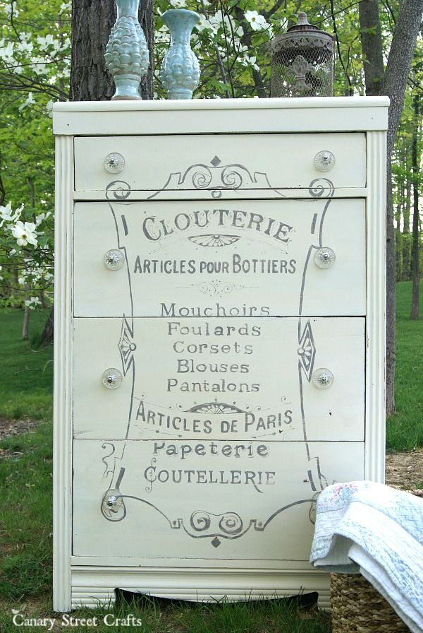 French Corset Dresser. Painted with Annie Sloan chalk paint Old White and Paris Grey.