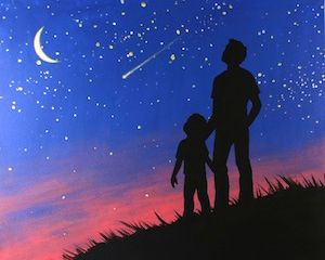 """Social Artworking Canvas Painting Design -  Star Gazing A tender, magical moment between a father and child is captured in this captivating design, making it a perfect choice for a very personal and priceless Father's Day gift. We've designed the pattern to provide both boy and girl options.  CANVAS SIZE:  16"""" x 20""""  TIME TO PAINT:  approximately 2 hours"""
