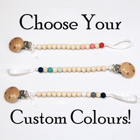 Custom Dummy Clip Wooden and Silicone Bead - 28 bead colours - Pacifier Chain - Teething Dummy Clip - your choice of colours - Eco-Friendly