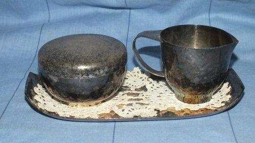 Buy Milk jug, sugar bowl on oval tray, - Stamped WMF - (German) Silvered Metal 1935 - 1945 - VERY RAREfor R220.00