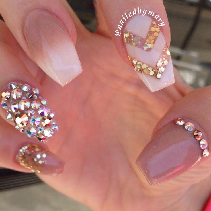 Nude white Swarovski crystals coffin nails