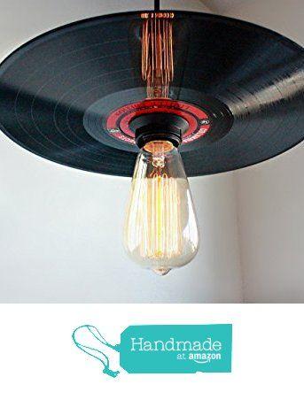 Vinyl Record Pendant Light - Rock N' Roll Decor - Record Player Stand Lighting, Rock and Roll Art, Hanging Light Fixture Vintage Edison bulb…
