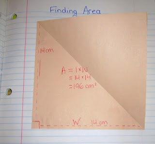 Show the relationship between the area of a rectangle and a triangle with this foldable that you can have students put right in their math notebook.