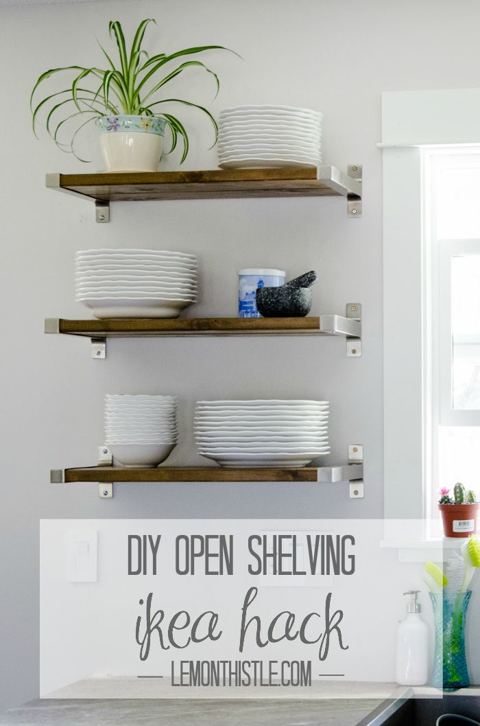 DIY Open Shelving   IKEA Brackets And Cedar Decking Boards