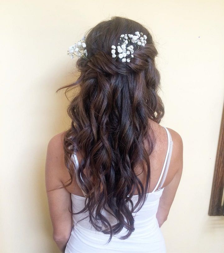 Boho twists and loose waves - Half up half down wedding hairstyle,partial updo bridal hairstyles - a great options for the modern bride from flowy bohemian