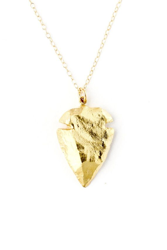 24k gold arrowhead necklace by SeaAndCake, etsy