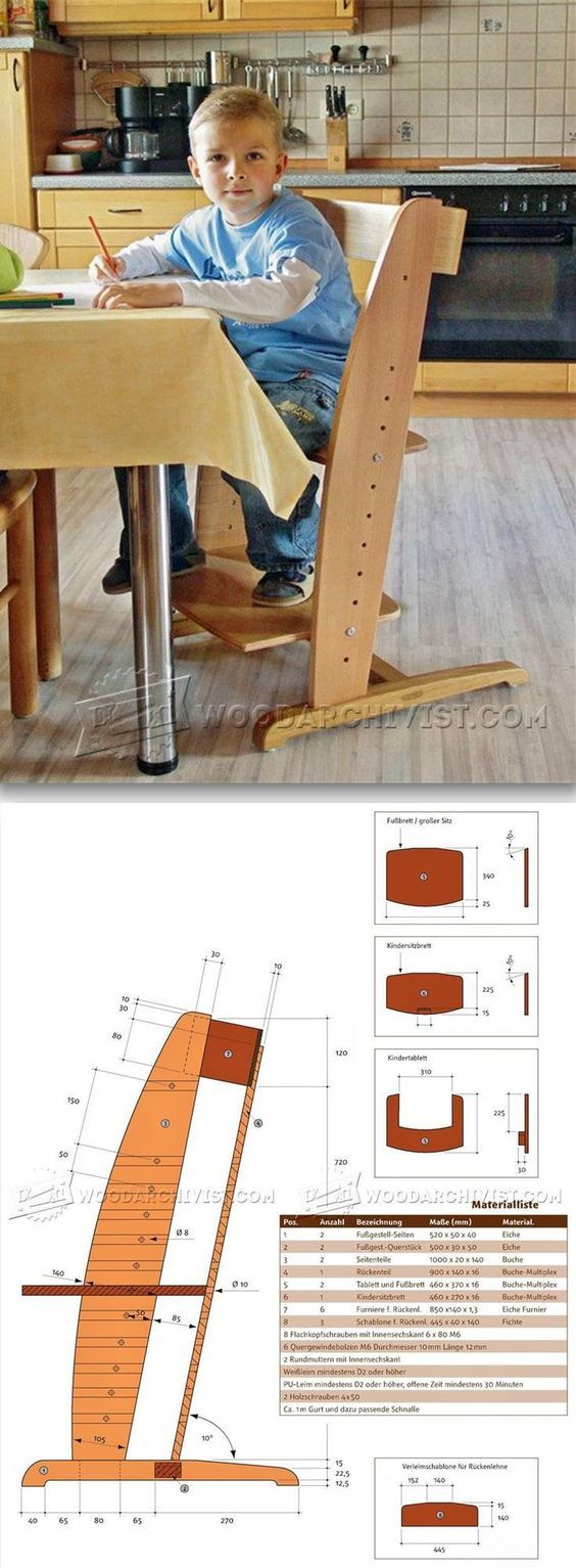 Painted wood high chair - Wooden High Chair Plans Children S Furniture Plans And Projects Woodarchivist Com