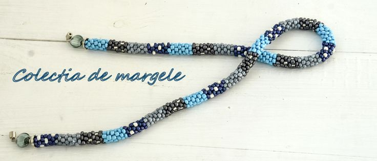 Snowy winter scarf - crochet beading necklace by Colectia de margele  www.colectiademargele.ro