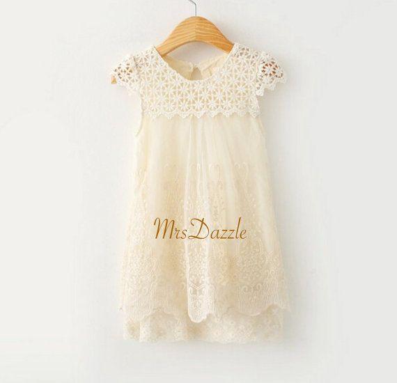 Girls Ivory Lace Dress,Ivory Flower Girl Dress,Flower Girl Lace Dress, Crochet lace dress,Girls Vintage Dress,Rustic Dress,Girls Cream Dress