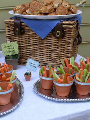 @Elizabeth Lockhart Golden Powell Peter Rabbit Baby Shower: flower pot veggies & picnic basket :-)