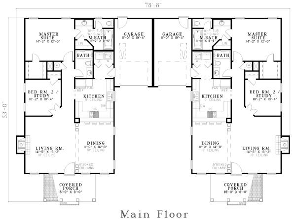 Almost Perfect Duplex Plan chp-21266 at COOLhouseplans.com