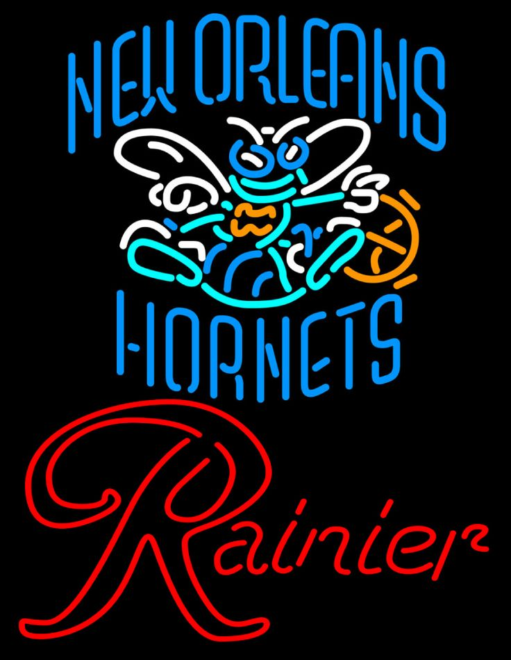 Rainier New Orleans Hornets NBA Neon Beer Sign, Rainier with NBA | Beer with Sports Signs. Makes a great gift. High impact, eye catching, real glass tube neon sign. In stock. Ships in 5 days or less. Brand New Indoor Neon Sign. Neon Tube thickness is 9MM. All Neon Signs have 1 year warranty and 0% breakage guarantee.