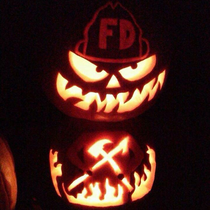 fire jack o lantern firefighting pinterest