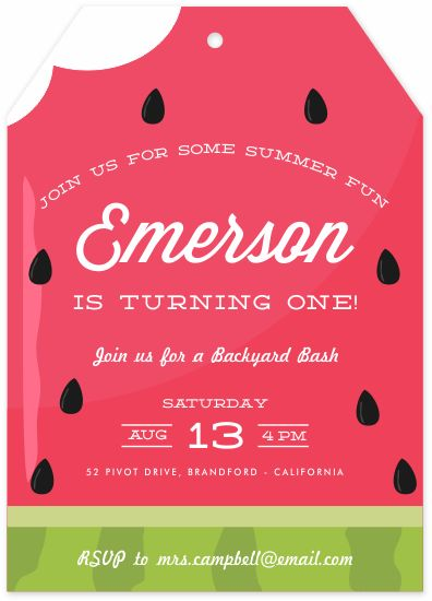 birthday party invitations - Summer Melon by Oma N. Ramkhelawan