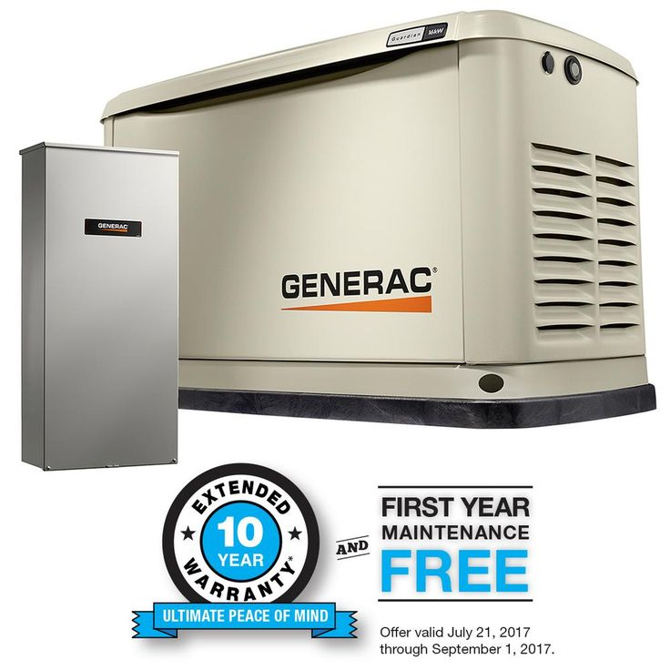 16,000-Watt (LP)/16,000-Watt (NG) Air Cooled Standby Generator with Whole House 200 Amp Automatic Transfer Switch