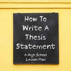 Creating thesis statement lesson plan