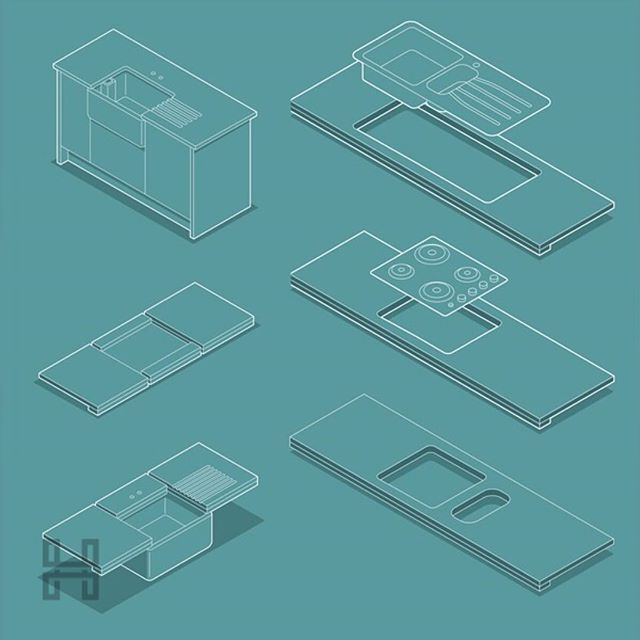 Kitchen Worktop Designs - #HyperColourCo #Commercial #Illustration #Infographic  #Isometric #Vector #AdobeIllustrator #Illustrator #LineArt #Kitchen #Worktops