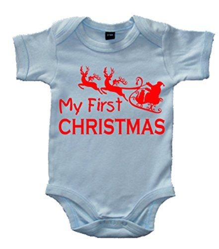 Sky Blue MY 1ST CHRISTMAS' with Red Print.