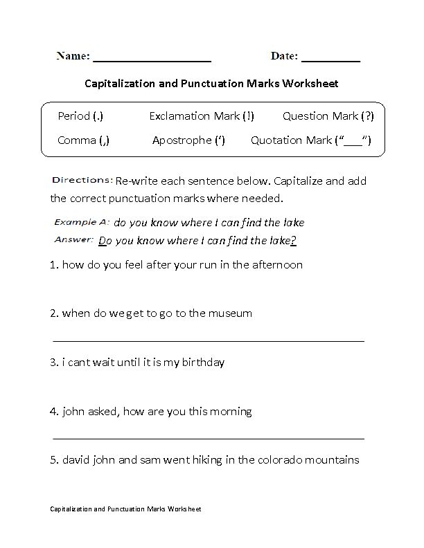 Capitalization And Punctuation Marks Worksheet Part 1