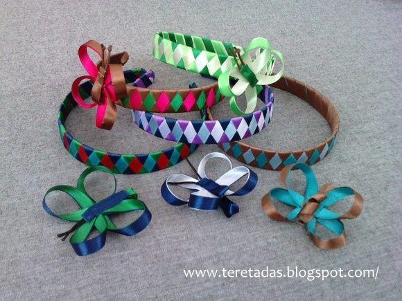 Diademas forradas con cintas de raso y pincita Mariposa