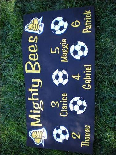 Felt Soccer Banner. Seems easy @Marni Farrant Gunn??