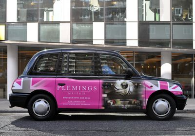 Flemings Hotel in Mayfair - launch taxi advertising campaign in London, September 2011